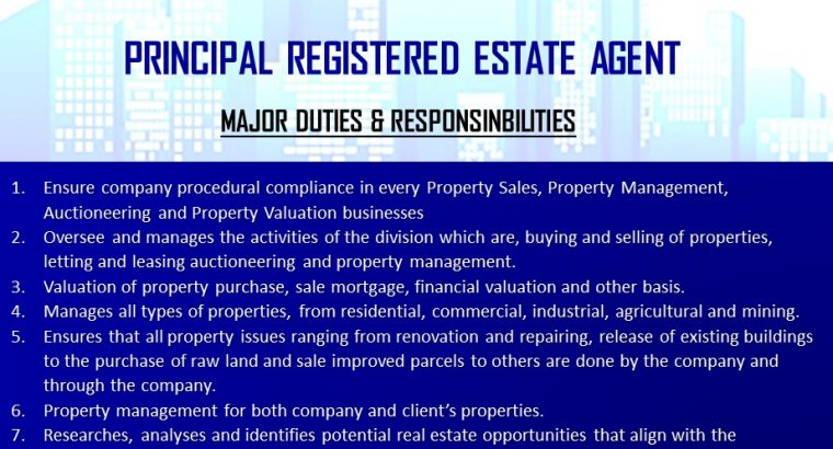 Principal Registered Real Estate Agent Wanted